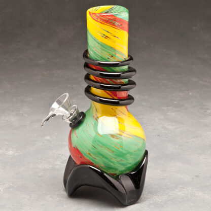 """7"""" Rasta Color Swirl Soft Glass Water Pipe w/Coil, Slide and Fancy Base"""