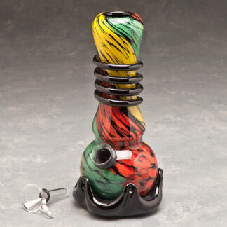 "7"" Dark Rasta Color Swirl Soft Glass Water Pipe w/Coil, Slide and Fancy Base"