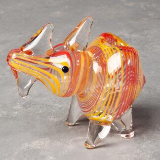 Color Swirl Rhino Glass Hand Pipe