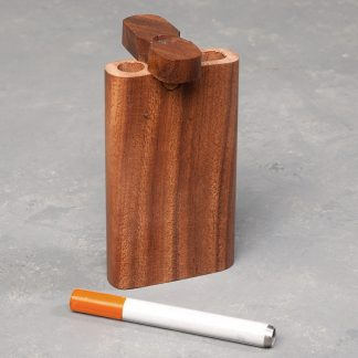 "4"" Wooden Dugout w/Rounded Edge and 3"" Metal Cigarette One-Hitter"