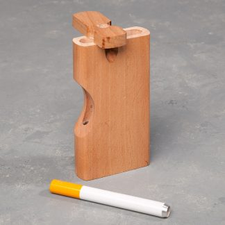 "4"" Light Wood Dugout w/Cutout and 3"" Metal Cigarette One-Hitter"