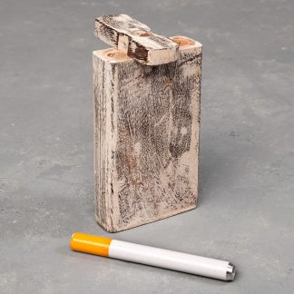 "4"" Distressed Wood Dugout w/Cutout and 3"" Metal Cigarette One-Hitter"