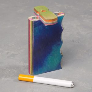 """4"""" Gripped Dyed Layered Wood Dugout w/Cutout and 3"""" Metal Cigarette One-Hitter"""