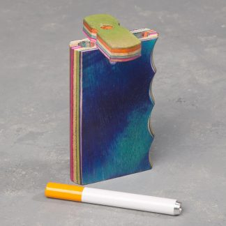 "4"" Gripped Dyed Layered Wood Dugout w/Cutout and 3"" Metal Cigarette One-Hitter"
