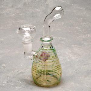 "6"" Glass on Glass Bubbler w/Stripes"