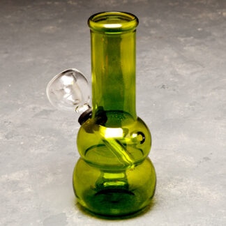 "5"" Rounded Mini Glass Water Pipe w/Gasket Downstem Bowl and Choke"