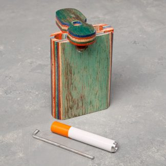 """3"""" Layered Wood Dugout w/Poker and 2.25"""" Metal Cigarette One Hitter"""