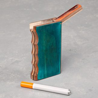 "4"" Gripped Layered Wood Dugout w/Flip Top and 3"" Metal Cigarette One Hitter"