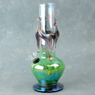 "10"" Accented Vase-Style Glass Water Pipe w/Chromametallic Finish"