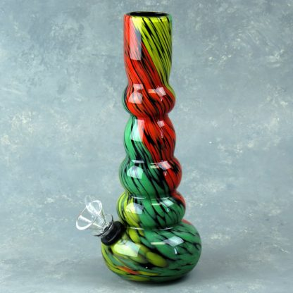"8"" Dark Rasta Swirl Glass Water Pipe w/Slide"