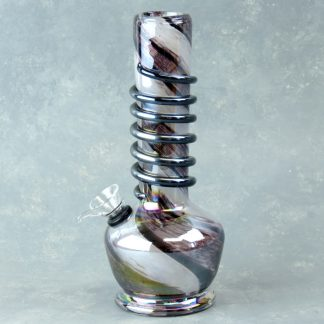 """8"""" Color Twist Glass Water Pipe w/Coil, Slide and Chromametallic Finish"""