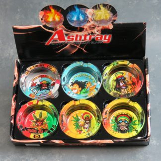 "3.5"" Glass Ashtrays w/Rasta"