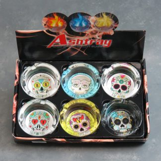 "3.5"" Glass Ashtrays w/Skulls"