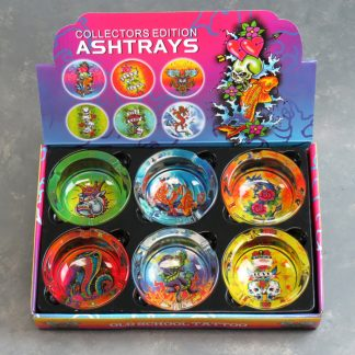 "3.5"" Glass Ashtrays w/Tattoo Designs"