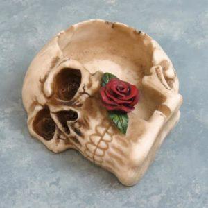 """6"""" Skull Ash Tray w/Rose"""