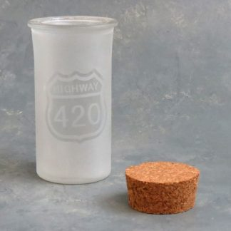 """4"""" Frosted Glass Jar w/Assorted Graphic and Cork Top"""