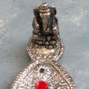 """8"""" Intricate Pewter Incense Burner w/Ganesh"""