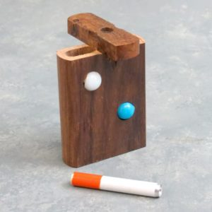 """3"""" Wooden Dugout w/Marbles and 2"""" Metal Cigarette One-Hitter"""