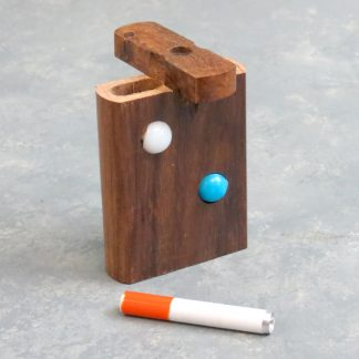 "3"" Wooden Dugout w/Marbles and 2"" Metal Cigarette One-Hitter"