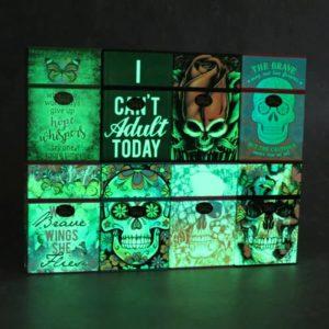 Glow-in-the-Dark Plastic Flip-Top Cigarette Case w/Lighter Holder