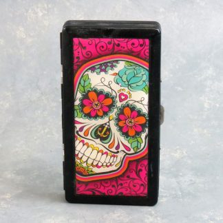 Two-Sided Metal Cigarette Case w/Calavera Graphics