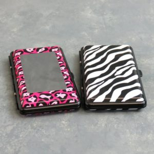 Two-Sided Metal Cigarette Case w/Mirror and Animal Print Graphics