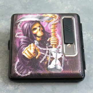 Two-Sided Metal Cigarette Case w/USB Rechargable Lighter and Graphics