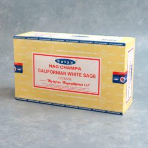 12pk Satya Nag Champa Californian White Sage Incense Sticks (15g packs)