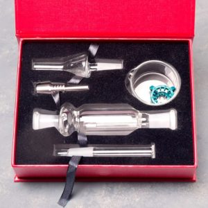 "10mm 4"" Dome Perc Nectar Collector Kit w/Titanium/Quartz Nails, Glass Bucket, and Clip"