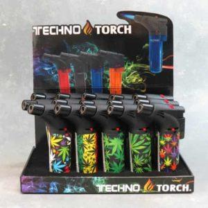 "5"" Techno Torch Refillable Single Slant Adjustable Jet Flame Lighters w/Leaf Designs"