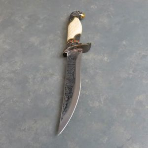 """8"""" Ornate Faux Ivory Etched Eagle Wildlife Bowie Knife"""