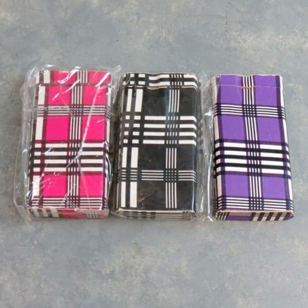"""4.125"""" Plaid Overlay Wooden Dugouts w/3"""" Metal Cigarette One-Hitters"""