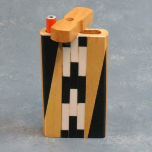 """4.25"""" Wooden Dugouts w/Checkered Inlays and 3"""" Metal Cigarette One-Hitter"""