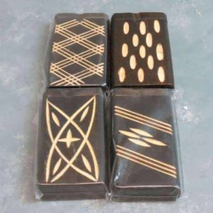 """4.125"""" Series 1 Carved Design Wooden Dugouts w/3"""" Metal Cigarrette One-Hitters"""