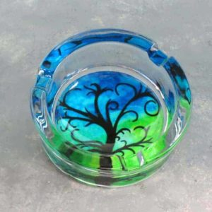 "3.5"" Glass Ashtrays w/Nature Designs"