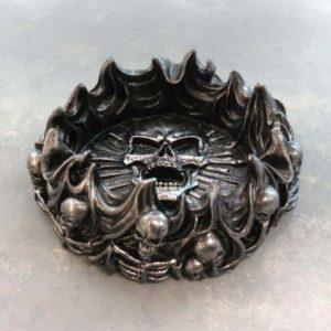"5"" ""Eternal Pyre"" Skull & Flames Polyresin Ashtray"