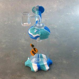 """6"""" Silicone & Glass Mini Water Pipe w/Diffuser and Graphic"""