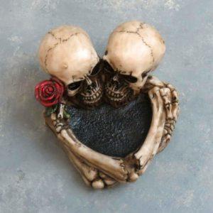 "5"" Skeleton Hug Ashtray w/Rose"