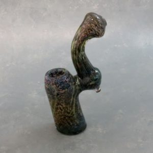 """7.5"""" Fumed Inside-Out Color Lines in Dots Glass Bubbler"""