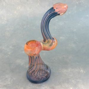 """8"""" Two-Tone Fumed Inside-Out Glass Bubbler w/Tapered Mouthpiece"""