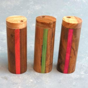 """4"""" Round Wood Dugouts w/Color Inlay and 3"""" Metal Cigarette One-Hitter"""