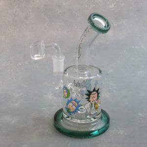 "7"" Rick & Morty Inline Perc Glass Dab Rig w/Quartz Bucket"