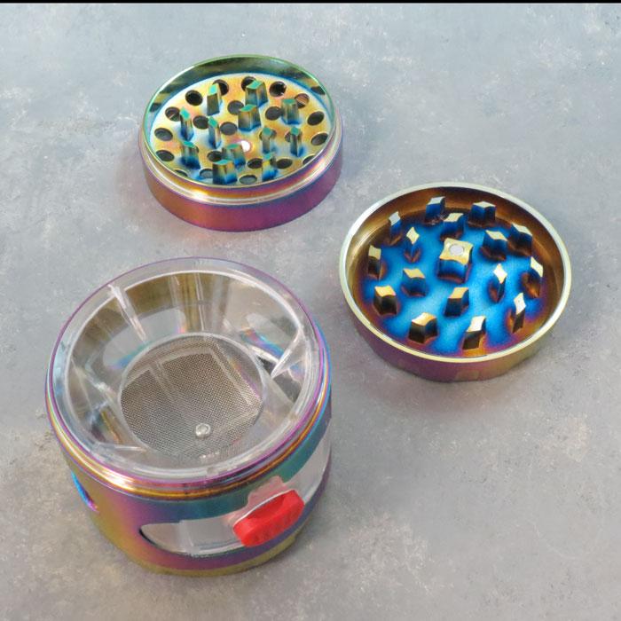 63mm Spinner-Top Iridescent 5-Part Concave Grinders w/Drawer, Windows & Scraper