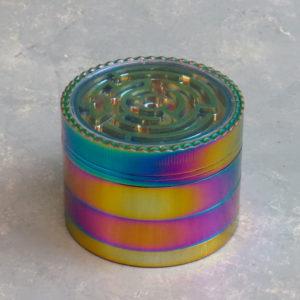 63mm Puzzle-Top Iridescent 4-Part Grinders w/Scraper