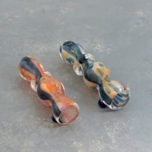 """3.5"""" Fumed' Dichro 'Beaded' Glass Chillums w/Ring & Bump"""