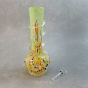"""10"""" Vase-Style Stretched Party Dots Soft Glass Water Pipe w/Coil Wrap, Ice Catch and Slide"""