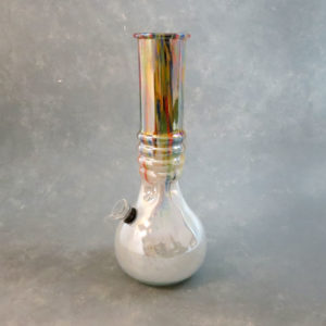 """12"""" Chromametallic Color Streak Ribbed Vase Style Soft Glass Water Pipe w/Ice Catch & Slide"""