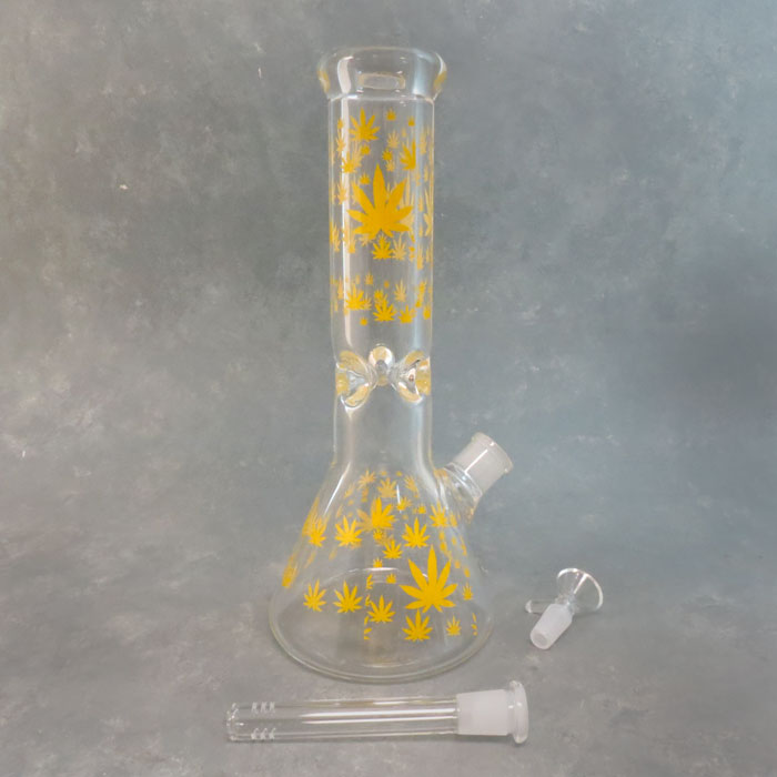 """12"""" Leaves Pattern Clear Beaker Style Glass Water Pipe w/Ice Catch & Diffused Downstem"""