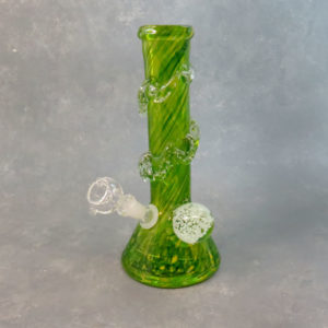 """10"""" Color Twist Glow-in-the-Dark Beaker Style Soft Glass Water Pipe w/GOG Diffused Downstem, Fancy Wrap & Marble"""