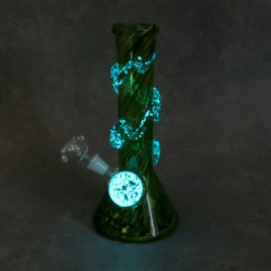"https://veeka10"" Color Twist Glow-in-the-Dark Beaker Style Soft Glass Water Pipe w/GOG Diffused Downstem, Fancy Wrap & Marbleywholesale.com/wp-content/uploads/2021/05/BT-10GID.jpg"
